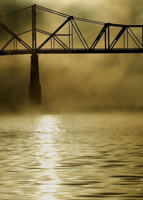 Ohio River Bridge in Fog 2008 3